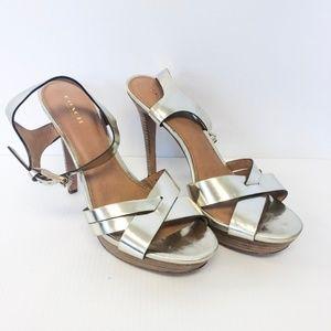 Coach Dani Gold Strappy Platform Heels